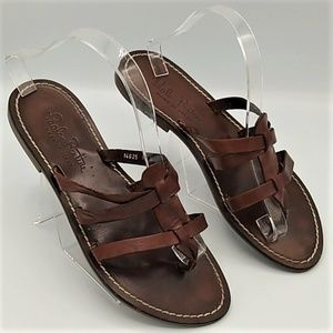 Paolo Bentini Brown Leather Slip On Sandals 9.5
